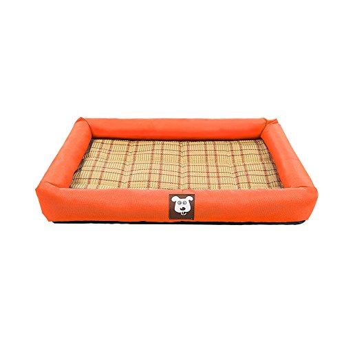 Yxiny casette per cani canile cuccia piccola e media panno oxford gatto mat letto per cani prodotti per animali sedili in rattan estivi (colore : orange, dimensioni : m)
