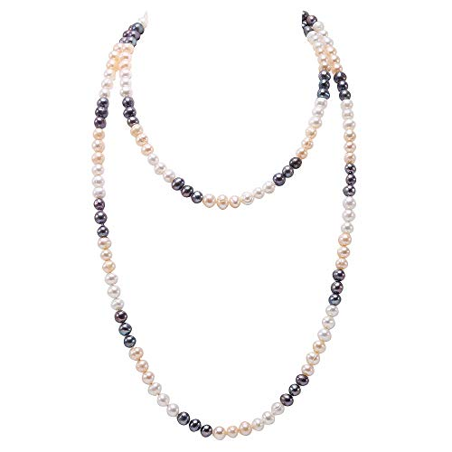 JYX Pearl Lange Perlenkette 7-8mm Echt Runde Bunt Suesswasser Perlenkette 120cm