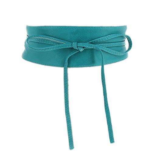 Fashiongen - cintura di finta pelle obi mica - blu acqua, s-m