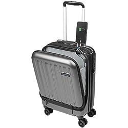 Valise Cabine avec Compartiment Ordinateur Portable Bagage à Main Trolley Rigide et Léger 4 roulettes Doubles pivotantes à 360º Serrure TSA Sulema USB (Gris)