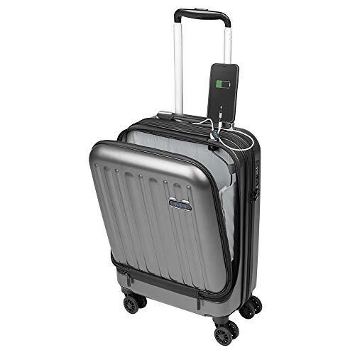 Maleta de Viaje de Cabina 55x35x20 Bolsillo Ordenador Portátil con USB de Carga Equipaje de Mano Trolley Rígido y Ligero 4 Ruedas Dobles Giro 360º Cerradura TSA Sulema (Gris)