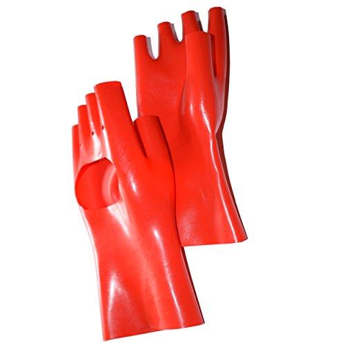 Rubberfashion kurze fingerlose Latex Handschuhe, Latexhandschuhe bis zum Handgelenk mit veredelter Oberfläche nicht chloriert für Frauen Menge: 1 Paar rot L
