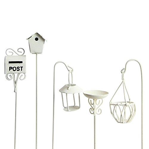 Miniatur Garten Welt 5er Set mit Vogelbad, Briefkasten und Blumenkorb Weiß aus Metall