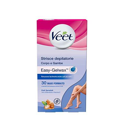 Veet Strisce Depilatorie Corpo per Pelli Sensibili 30 Pezzi