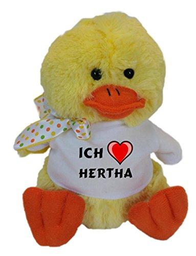 SHOPZEUS Plüsch Hühnchen mit T-shirt mit Aufschrift Ich liebe Hertha (Vorname/Zuname/Spitzname)