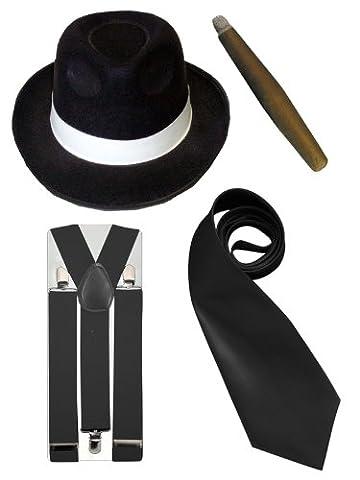 Gangster-Kostüm Herren - Hut/Krawatte/Hosenträger/Zigarre - 20er Jahre - Schwarz (Al Capone Kostüm)
