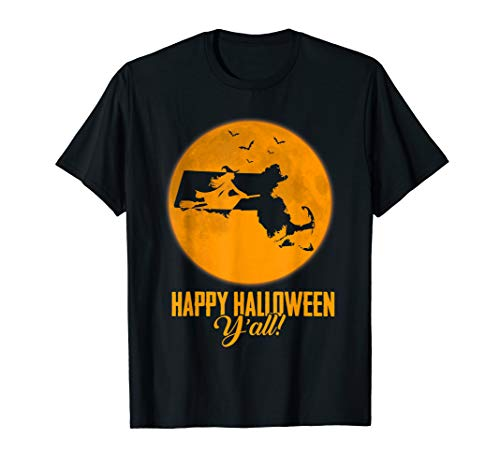 Happy Halloween Y'all Massachusetts Witch Map T-shirt