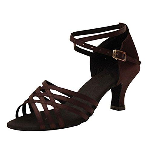 YFF Regalo donne danza scarpe ballo latino ballo tango danza scarpe 6CM Brown