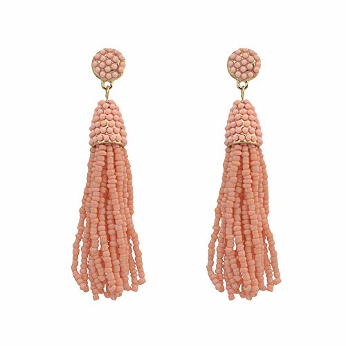 Zhongsufei Damen Ohrreifen Ohrstecker Frauen Perlen Quaste Ohrringe Lange Fringe Ohrringe baumeln 5 Farben für Frauen Mädchen Geschenke Anhänger, Geschenkbox für die Dame (Farbe : Rosa)
