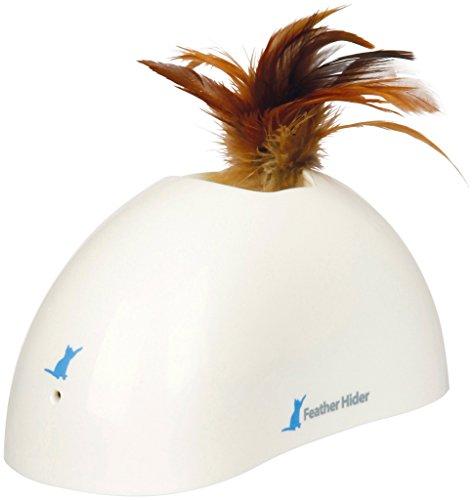 GiGwi 7022 Elektrisches/Interaktives Katzenspielzeug PetDroid Feather Hider mit Bewegungssensor und Vogelgeräuschen, zur Beschäftigung, Weiß