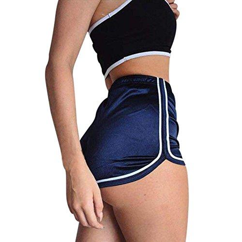 Pantalones cortos mujer sexy , ❤️ Amlaiworld Mujer Leggins Pantalones cortos casuales de verano Pantalones cortos deportivos de cintura alta Pantalón de playa (Azul, S)