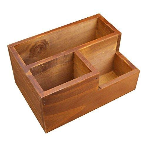 Coideal - Organizador de escritorio de madera con soporte de caja de madera para escritorio, suministros de oficina, hogar, mesa auxiliar