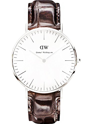Daniel Wellington York Silver Men's Quartz Watch with White Dial Analogue Display and Brown Leather Strap 0211DW