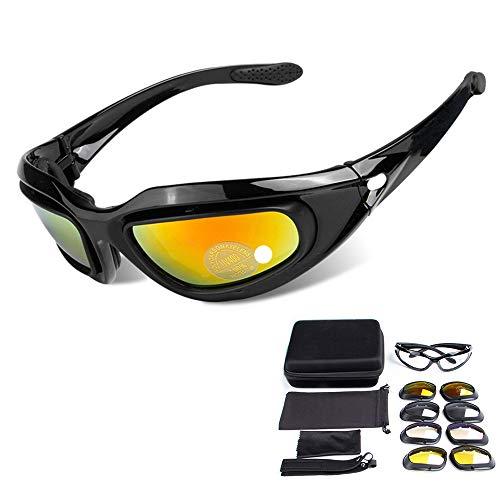 Motorrad-Reitbrille, Sport-Sonnenbrillen 3 Wechselgläser UV400-Schutz Anti-Wind & Staub PC-Objektiv (Gelb, Rauch, Klar) -