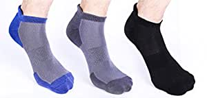 Heelium Premium Bamboo Running Socks, Ankle Length, Odour Control, Breathable Cushioned Comfort, Free Size, Combos (Black, White, Grey, Blue) 3 Pairs | MEN