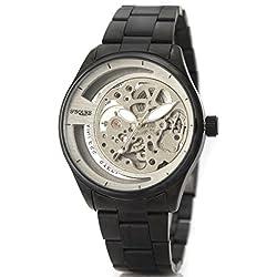 Alienwork Ssqure mechanische Automatik Armbanduhr Skelett Automatikuhr Uhr silber schwarz Metall 40017G-01