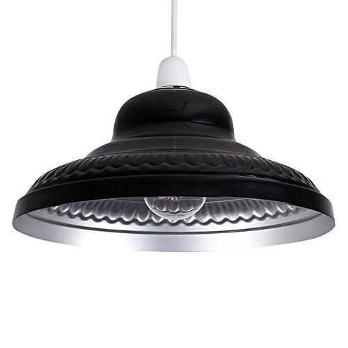 MiniSun - Pantalla metálica vintage para lámpara de techo, del afamado estilo 'arco' - negro/plata