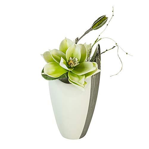 Formano Deko Vase 'Banyue' mit Kunstblume Magnolie, Höhe 35 cm, weiß-Silber/grün-weiß,...