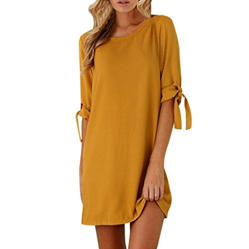 Vestito de donna, meibax donne mini abito sexy tinta unita bowknot decori maniche cocktail o collo vestiti (m, giallo)