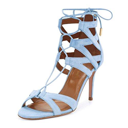 NANCY JAYJII - Femmes - Sandales - Cuir véritable - Bride de cheville - Bleu ou Vert ou Rose - Talon aiguille - Bout rond ouvert Bleu