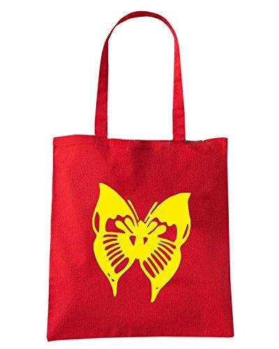 T-Shirtshock - Borsa Shopping FUN0900 butterfly sticker 07 68635 Rosso