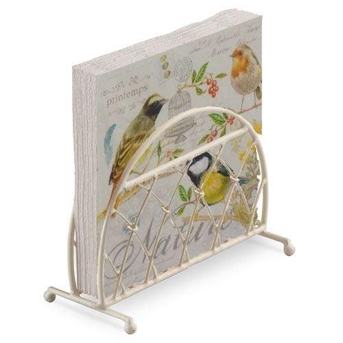 bunt Vögel gelb creme 20 x 3-lagige Papierservietten & Lattice Serviettenhalter Set
