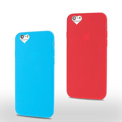 2×Cover iPhone 6 Plus (5.5 pollici) Spiritsun Apple 6S Plus (5.5 pollici) Moda Ultraslim TPU Case Elegante Carina Souple Flessibile Morbido Silicone Copertura Perfetta Protezione Shell Paraurti Custod Blu + Rosso