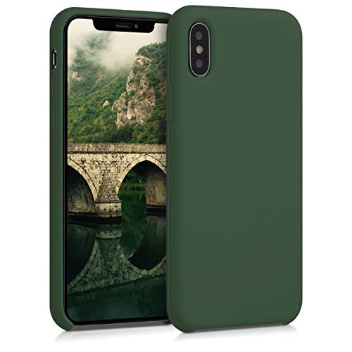 kwmobile Apple iPhone X Cover - Custodia per Apple iPhone X in Silicone TPU - Back Case Cellulare Verde Scuro