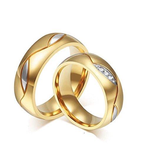 Frauen 18K Weiße/Rosa/KC Gold Gepanzerte Kubik- Zirkonoxid-Kristalle Zirkonia Diamant Verlobungsringe Beste Versprechungsringe Hochzeit-Jubiläumsfeiersringe für das Damenmädchen, , KC Gold , 6 (Schwarzen Diamanten Ringe Gold)