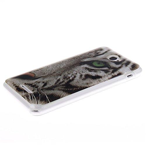 Sony Xperia E4 hülle MCHSHOP Ultra Slim Skin Gel TPU hülle weiche Silicone Silikon Schutzhülle Case für Sony Xperia E4 - 1 Kostenlose Stylus (Vans von der wand (Vans off the wall)) weiße tiger mit grünen augen (White tiger with green eyes)