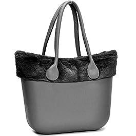 borsa bag spalla DONNA fantasia silicone manici sacca scocca completa ricamati bordo pelliccia pelo smontabile (beige 3)