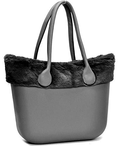 borsa bag spalla DONNA fantasia silicone manici sacca scocca completa  ricamati bordo pelliccia pelo smontabile ( 3f167fe6a6c