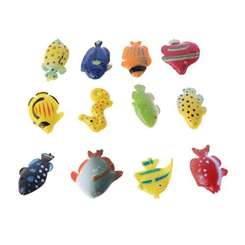 MagiDeal 12 Pieces Figure Realistic Miniature Animal Plastic Educational Toy Model Mouse / Fish / Turtle / Zebra - Marine Animals