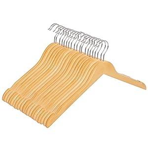 SONGMICS Kleiderbügel aus Holz, mit Einkerbungen, 20er Set, Naturfarben, Anzugbügel in Flacher Form, 44 cm breit, für…