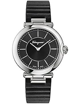 Salvatore Ferragamo Style Damen Quarzuhr mit schwarzem Zifferblatt und schwarzem geprägtem Lederband FIN010015