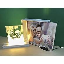 LAMPARA Personalizada con TU Foto, con Base ILUMINADA + Caja DE Madera con Misma Foto