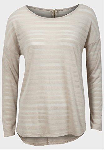 Damen Ausbrenner Stripe Top Light Sheer Strick Stoff langen Ärmeln Shirt Gr. 10, Rosa - Hellbeige (Sheer Stripe Shirt)