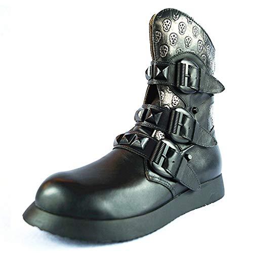 Lecc Botas para Hombre Martin Botas de Cuero Genuino Botas Uniformes Impermeables Skull Punk Motocicleta Botines Steampunk Zapatos Botas de Cuero,Black,45