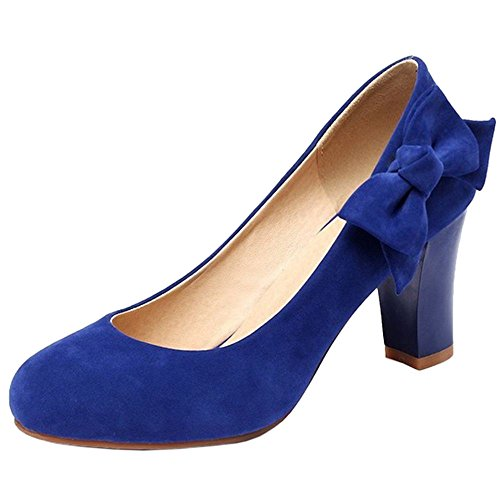 COOLCEPT Damen Mode-Event Slip on Blockabsatz Geschlossene Pumps mit Bow Blau