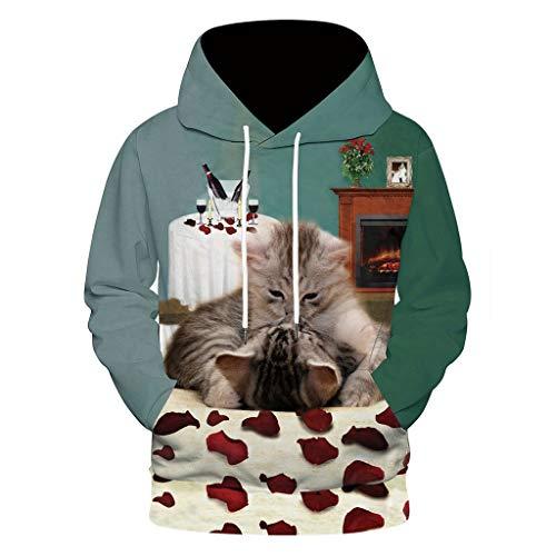 Dwevkeful Paar Hoodie Herren Kapuzenpullover Halloween 3D Kitty Druck Sweatshirt Pullover Langarm Tops Jumper Pulli Kapuzenpulli Feiertag -