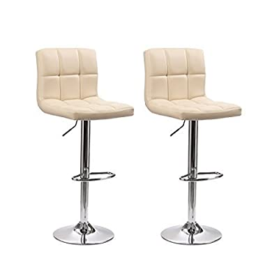 Neotechs® 2 x Cream Cuban Style Faux Leather Bar Stool Breakfast Swivel Bar Stools Barstools Kitchen Metal Base