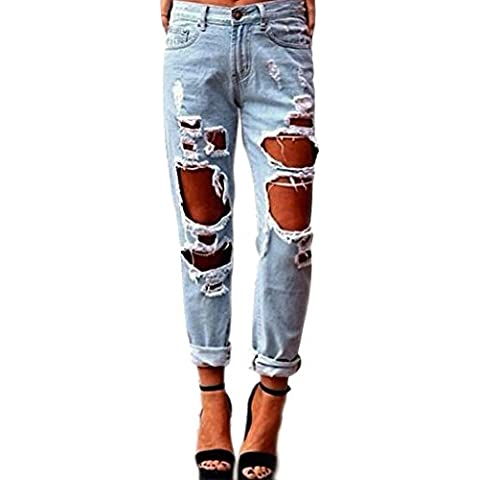 Think Best Jeans blu Denim pantaloni strappi Destroyed Baggy Straight Leg Jeans pantaloni sui fianchi da donna