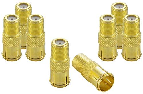 Poppstar - 8X Sat F-Conector rápido coaxial (F-Hembra a F-Macho) Acoplamiento para Cable coaxial - Cable de Antena, Dorado