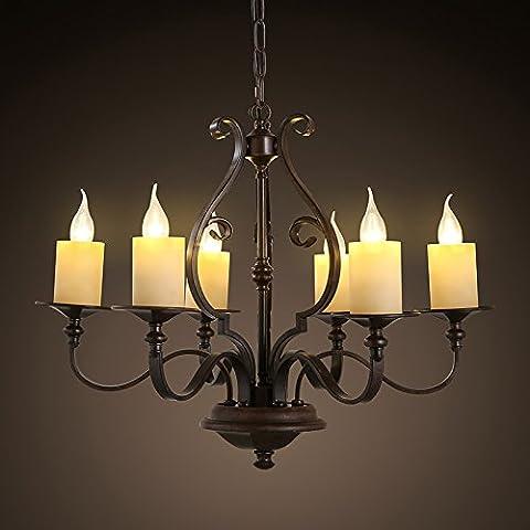 SSBY Los países americanos y retro comedor perforado grabado velas de hierro forjado negro 6 lámpara colgante 690*520mm