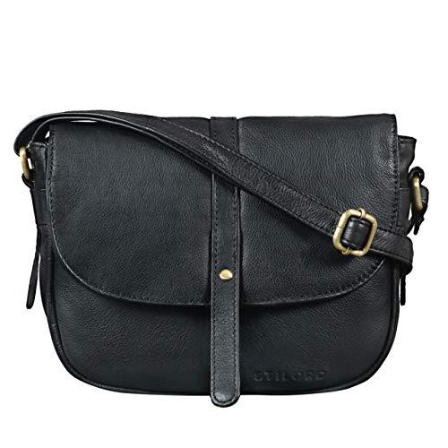 STILORD 'Clara' Borsa piccola a tracolla in pelle Borsetta da donna vintage Pochette Messenger Clutch a spalla in cuoio, Colore:nero
