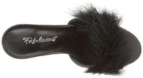 Pleaser CLASSIQUE-01F Damen Marabu Pantolette Blk Pu-Fur