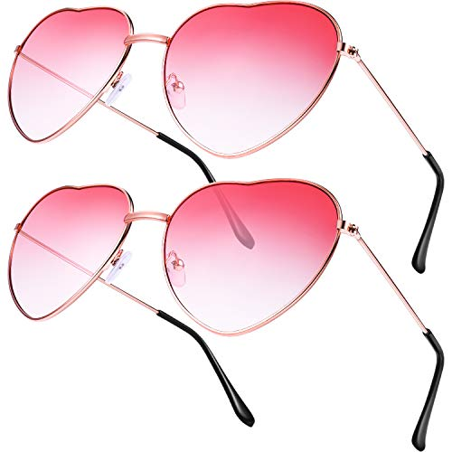 2 Pairs of Pink Heart-Shaped Sunglasses
