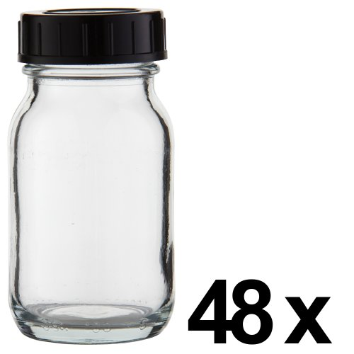 48 x Weithalsflasche 100ml Klarglas inkl. Schraubverschluss mit Dichtungsscheibe *** Weithalsflaschen, Schraubgläser, Weithalsgläser, Glasdosen, Allzweckgläser, Haushaltsgläser, Weithalsglas, Schraubglas, Allzweckglas, Haushaltsglas ***
