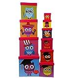 Aufbewahrungsboxen Set im lustigen Eulen Design 10 er Set - Aufbewahrungsboxen mit Deckel