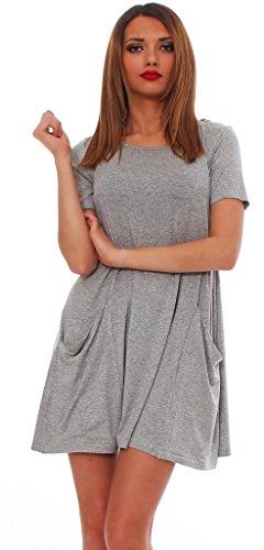 Mississhop Tunika Langarmkleid Damen Minikleid Kurzarmkleid Kleid mit Taschen Melange /Kurzarm